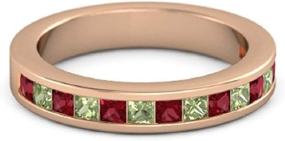 0.50ct Princess Cut Ruby Peridot 14K Kansas City Mall Gold Financial sales sale Rose 925 Plated Ster
