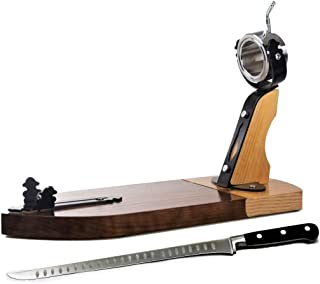 BlendNature Jamonero Profesional Giratorio Tabla Soporte de Madera + Elegante Estuche con Cuchillo de Corte y Chaira.