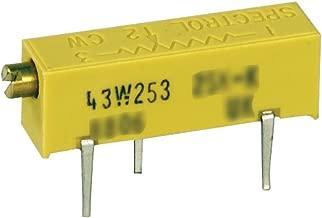 Spectrol 3006W-1-100/43W/89WHR Rectangular Cermet Trimmer Potentiometer, 10 Ohm, 15 Turn, 3/4 Watt, 0.75