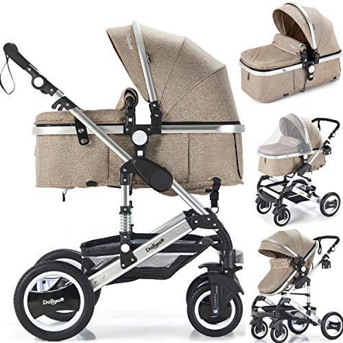 Daliya Bambimo 2in1 Kinderwagen - Kombikinderwagen 9-Teiliges Set incl. Babywanne & Sportsitz/Buggy - 1-Klick-System/Alu-Rahmen/Voll-Gummireifen/Sonnenschutz/Getränkehalter in Khaki