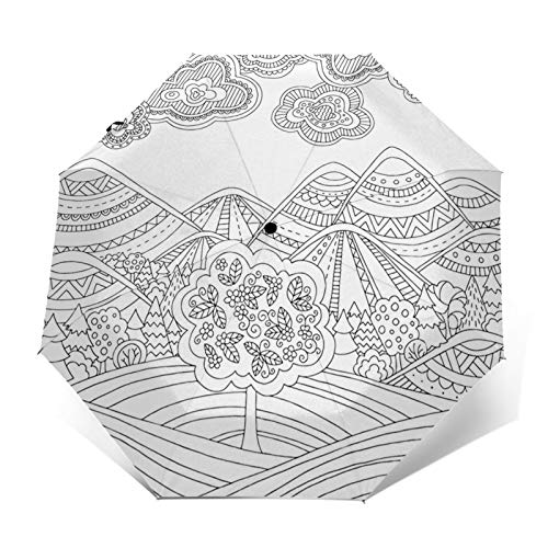 Regenschirm Taschenschirm Kompakter Falt-Regenschirm, Winddichter, Auf-Zu-Automatik, Verstärktes Dach, Ergonomischer Griff, Schirm-Tasche, Malvorlagen Erwachsene Berg