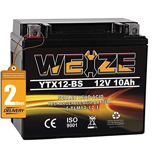 Weize YTX12-BS Motorcycle Battery High Performance - Maintenance Free - Sealed YTX12 BS AGM Rechargeable ATV Batteries compatible with Honda Kawasaki Suzuki Black