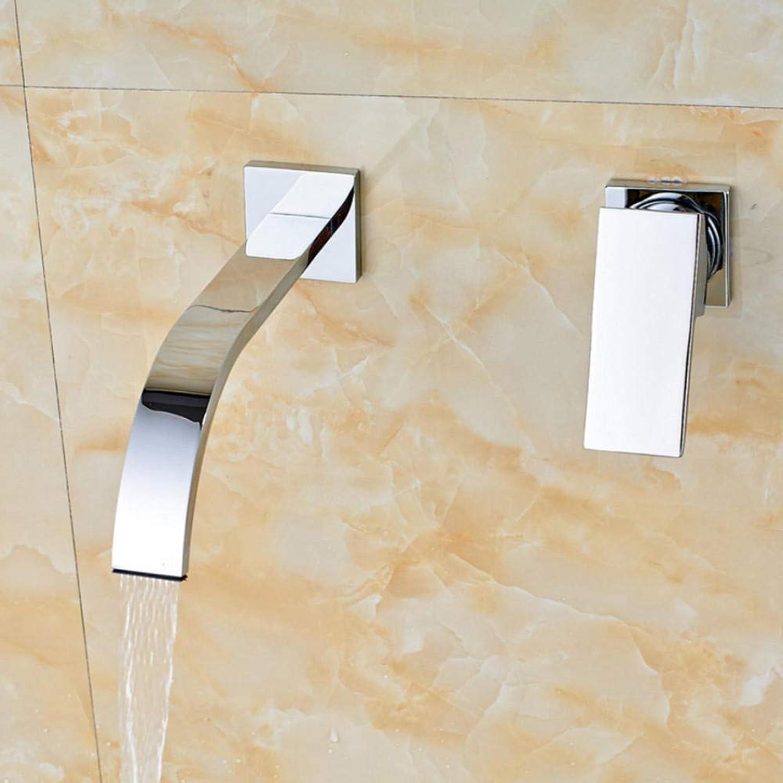 Hiwenr Wandmontage Wasserfall Becken Waschbecken Wasserhahn Chrom Einzigen Handgriff Doppelloch Bad Mischbatterie Chrom Hei Kalt Wasserhahn