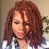 Leeven 6 Packs Copper Red Bob Distressed Butterfly Locs Crochet Hair Pre-looped Messy Butterfly Twist Locs Hair 12 Inch Short Knotless Butterfly Braids Locs Hair for Women 350#