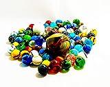 Partynelly 1 kg de canicas de cristal de colores, varios tamaños