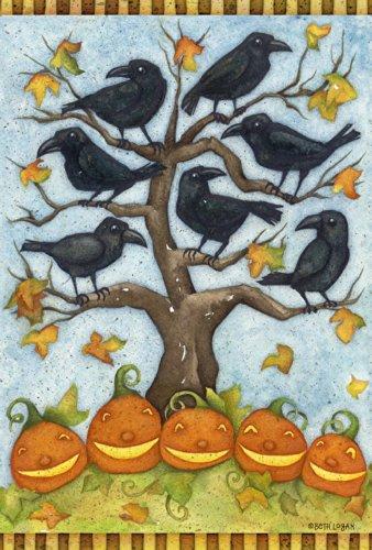 Toland Home Garden Corbeaux N Jacks Garden Drapeau, Tissu, Black/Blue/Orange/Green/Brown, Taille S