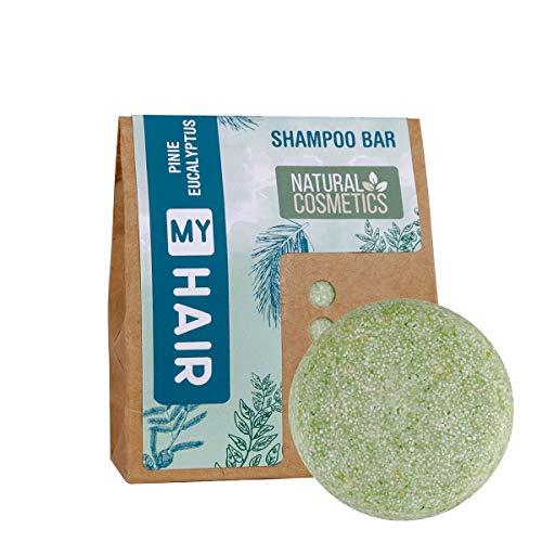 MY HAIR Shampoo Bar Natural by accentra, Festes Shampoo,Haarseife, Naturkosmetik, für alle Haartypen geeignet, vegan, ohne Plastik, handgefertigt in Deutschland, Duft: Kiefer & Eukalyptus