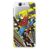 Funda para Huawei Ascend G7 Oficial de Marvel Spiderman Ciudad Transparente para Proteger tu móvil. Carcasa para Huawei de Silicona Flexible con Licencia Oficial de Marvel.