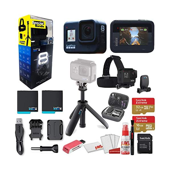 GoPro HERO8 Black Action Camera – Starter Bundle + GoPro Shorty + GoPro Head Strap + Sandisk 32GB & 16GB SD Cards + 2 Batteries + Case and More. Waterproof, Touchscreen, 4K, 12MP, Live Streaming
