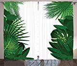 ABAKUHAUS Hoja Cortinas, Exotic Palms Tropicales, Sala de Estar Dormitorio Cortinas Ventana Set de Dos Paños, 280 x 225 cm, Verde Blanco