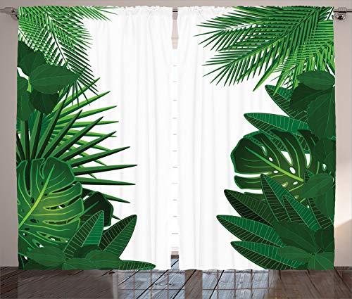 cortinas salon verde hojas