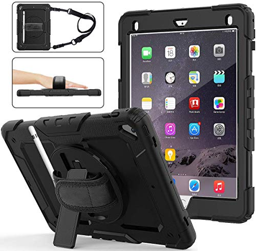 iPad 5th/6th Generation Cases with Pencil Holder, iPad Air 2/ Pro 9.7 Case with Screen Protector,Rugged Protection Shockproof Case for Kids with Stand, Hand & Shoulder Strap,iPad 9.7 2018/2017-Black
