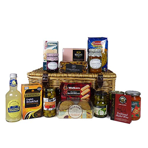 The Cavendish Traditional Wicker Food Hamper Basket with 15 Items - Gift Ideas for Mum, Dad, Grandma, Grandad, Him, Her, Birthday, Anniversary, Business, Corporate, Teacher, Thank You