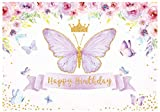 Funnytree 7x5ft Happy Birthday Butterfly Party Backdrop Purple Baby Girls Princess Pink Rose Floral Gold Photography Background Kids Sweet Cake Table Banner Decor Supplies
