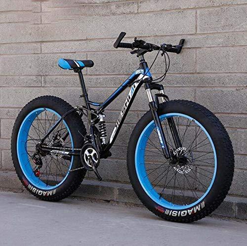 HYCy MTB Mountain Bike da 26 Pollici, Mountain Bike Fat Tire, Telaio a Doppia Sospensione e Forcella Ammortizzata Mountain Bike all Terrain