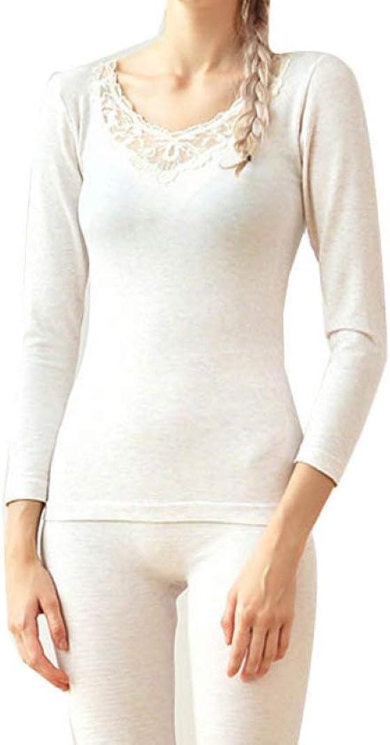 Women's Long Johns Autumn Winter Warm Thermal Underwear Suit Seamless Shape Sexy Lace Underwear Sets
