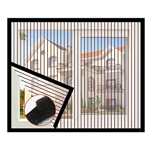 DM&FC Haushalt Selbst-klebstoff Fliegengitter Fenster,Anti Bug Fly Fliegengitter Fenster Net Mesh Curtain,voller Rahmen Klettband Demontage Streifen Kaffee 150x100cm/59x39inch