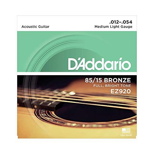 D\'Addario Saiten Westerngitarre | HÖCHSTE QUALITÄT DER BELIEBTESTEN SAITENMARKE WELTWEIT | EZ920 | 85/15 Bronze | Medium Light (12-54)