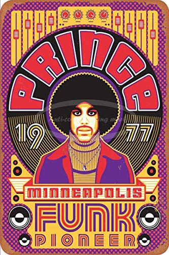 Minneapolis Funk Pioneer Letrero de chapa vintage, pintura de hierro, letrero de metal retro, placa, arte, decoración de pared, 8 × 12 pulgadas