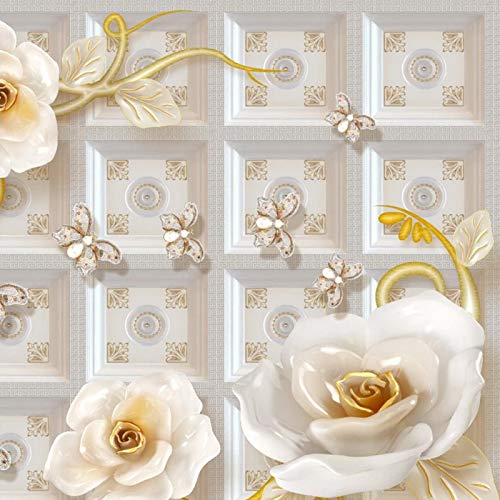 Msrahves fotomurales xxl Alivio joyería flor mariposa grande Mural TV Fondo Papel de pared Sala de estar Sofá Dormitorio Papel tapiz Papel pintado creativo moderno tejido no tejido