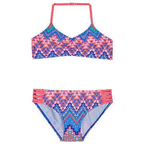 Gossip Girl Big Girls' 2-Piece Junebug Halter Neck Aztec Geo Print Swimsuit (14)