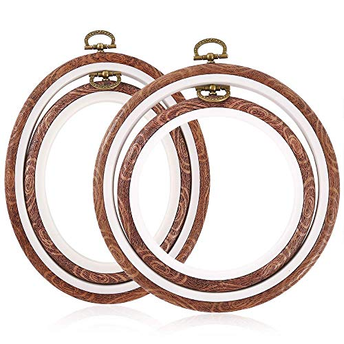 Binchil 4 marcos de punto de cruz, marco de madera, bordados, redondos y...