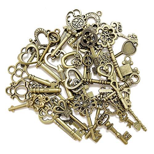 Juland 40 ciondoli misti fai da te per bracciali, collane, orecchini, fai da te, accessori per chiavi, diversi motivi, bronzo antico