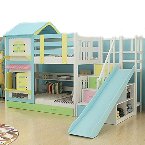 HXXXIN Bunk Bed, Children's Upper And Lower Double Bunk Bed, High And Low Bed, Wooden Bed, Two-Layer Multifunctional Combination Castle Bed,Blue