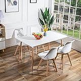 FURNITABLE Esstisch Rechteckig Esszimmertisch Tisch Skandinavisch Küchentisch Buchenholz für 6 Stühle MDF Weiß 140 x 80 x 74 cm