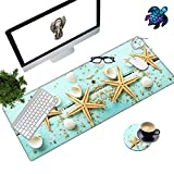 Desk Pad Mat Large Mouse Pad XL Extended Mousepad Gaming with Starfish Shell 31.5