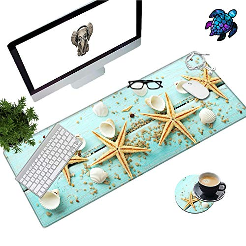Desk Pad Mat Large Mouse Pad XL Extended Mousepad Gaming with Starfish Shell 31.5' 11.8' Huge Mouse Pads for Computer Laptop Home Office + Cup Coaster and Cute Stickers