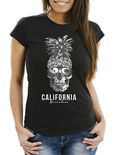 Neverless Cooles Damen T-Shirt PineappleSkull Sonnenbrille Ananas Totenkopf Slim Fit schwarz XXL