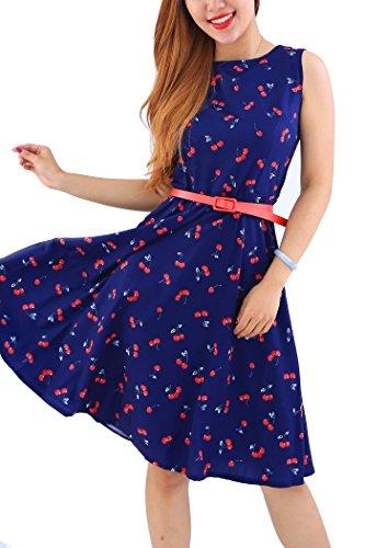YMING Frauen Blumenkleid Swing Kleid AbschlussballkleidBlumendruck Sommerkleid Vintage Partykleider Dunkelblau Kirschen XXL/DE 44-46