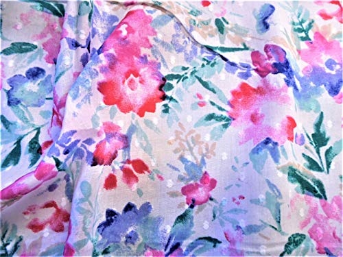 Fabric Quilting Cotton Apparel Swiss Dot Soft Petals Blue Pink Teal Floral T26