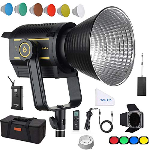 Godox VL150 LED Video Light, 150W Continuous Output Lighting, 5600K 61000Lux@1m CRI 96 TLCI 95, 0-100% Dimmable, Wireless Radio Remote, with V-Mount Plate Controller Box