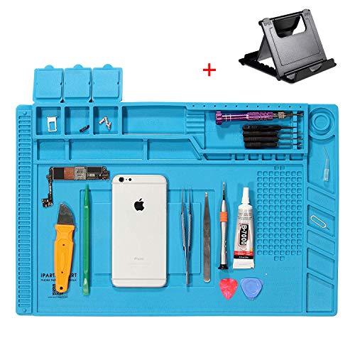 Silikon Antistatische Magnetische 500℃ Hitzebeständige Lötmatte mit 1 Pcs Handy Ständer, Reparatur Matte für Lötpistolen, Heißpistolen (Blau-45x30cm)