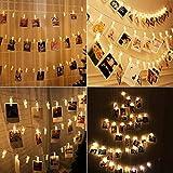 LED Fotoclips Lichterkette, Led Lichterkette Warmweiß 5m/50 Foto Clips Lichterkette,8 Modi Fernbedienung LED Dekoration Lichterkette für Wohnzimmer, Weihnachten, Hochzeiten, Party