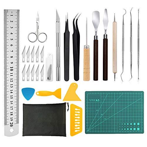 Gobesty 28 piezas de vinilo herramientas de deshierbe accesorios de plotter de acero inoxidable herramientas de deshierbe juego de láminas de plotter HTV +1 pieza A5 estera de corte, camafeos, letras