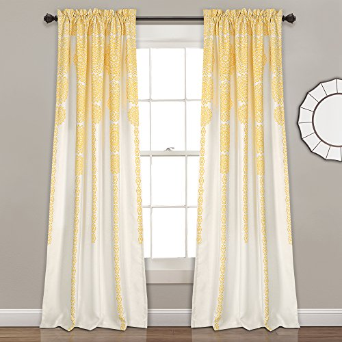 "Lush Decor Stripe Medallion Curtains Fabric Mandala Bohemian Damask Print Room Darkening Window Panel Set for Living, Dining, Bedroom (Pair), 84"" L x 52"" W, Yellow"