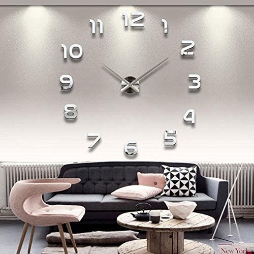 OUTLETISSIMO® Reloj de pared tridimensional con números adhesivos de espejo 3D para...