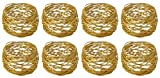 ARN Craft Golden Round Mesh Napkin Rings- Set of 8 for Weddings Dinner Parties or Every Day Use (CW- 06-8)