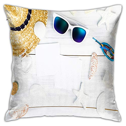 Funda de Cojín,Accesorios de playa de verano (gafas de sol blancas con concha de sombrero de paja de estrella,Funda de Almohada Cuadrado para Sofá Coche Cama Sillas Decoración para Hogar(45 x 45cm)