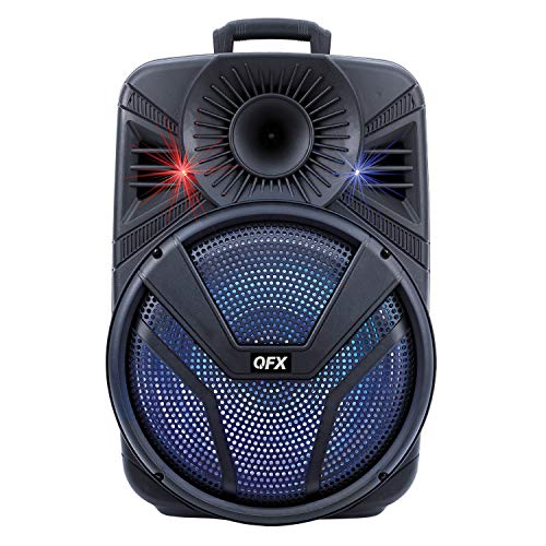 """QFX PBX-615 15"""" Bluetooth Rechargeable Speaker with LED Lights (2021 Model)"""