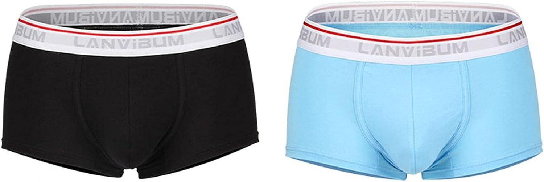 GGGK 2PC Premium Men's Solid Color Sexy Underwear, Elastic Breathable U-Convex Boxer Briefs No Fly
