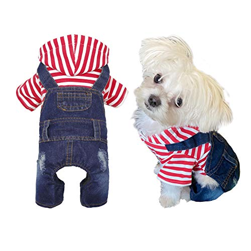 Pet Clothes Dog Classic Hoodies Jeans Jacket for Small Medium Cat Dog Apparels Machine Washable (Red Stripe, XS)