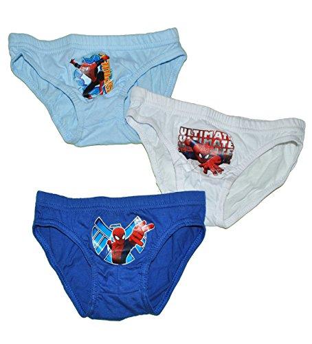 alles-meine.de GmbH 3 TLG. Slip / Unterhosen - Spider-Man - Größe 6 bis 8 Jahre - Gr. 122 bis 140 - 100 % Baumwolle - für Kinder Pants Unterhose Slips Spiderman - Slips Jungen 3e..