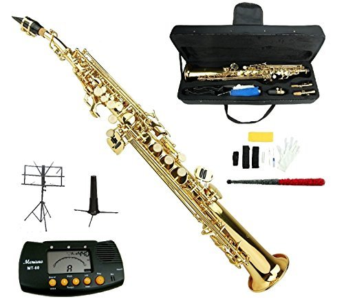 Merano B Flat Gold Brass Soprano Saxophone,Case,Mouth Piece, Reed,Screw Driver, Nipper,A Pair of Gloves,soft Cleaning Cloth, Metro Tuner, Soprano Saxophone Stand, Music Stand