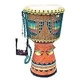 WYKDL Tamburo parlante africano con legno di mogano Shell e legno Beater - NON MADE IN CINA - grandezza media in pelle di capra capi africani tamburo con disegno squisito africano tamburo Master Grade