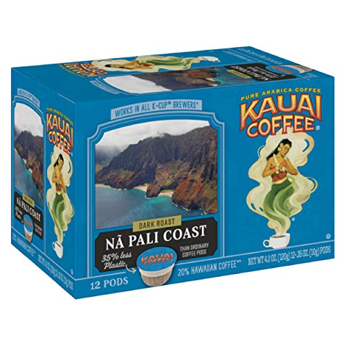 Kauai Coffee Single-Serve Pods, Na Pali Coast Dark Roast – 100% Arabica Coffee from Hawaii's Largest Coffee Grower, Compatible with Keurig K-Cup Brewers - 12 Count