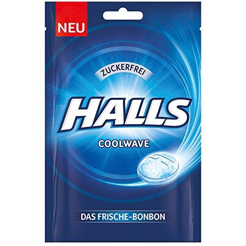 Halls Bonbons Coolwave zuckerfrei 65 g / Frischebonbon Eukalyptus-Menthol